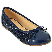 Buy John Lewis Children's Ballerina Toe Cap Glitter Pumps, Navy Online at johnlewis.com