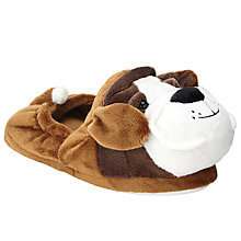 Buy John Lewis Buster the Boxer Children's Slippers, Brown/White Online at johnlewis.com