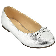 Buy John Lewis Children's Ballerina Scallop Edge Pumps, Silver Online at johnlewis.com