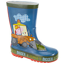 Buy Peppa Pig George's Digger Children's Wellington Boots, Blue Online at johnlewis.com