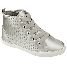 Buy John Lewis Children's Jessie Hi Top Trainers, Silver Online at johnlewis.com