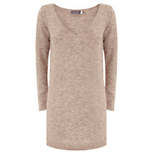 Buy Mint Velvet Longline V-Neck Jumper, Neutral Online at johnlewis.com