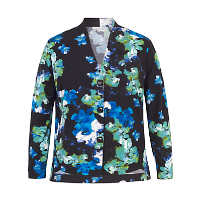 Chesca Abstract Floral Print Shrug, Cobalt