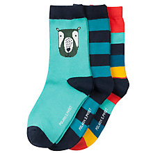 Buy Polarn O. Pyret Children's Bear Socks, Pack of 3, Blue Online at johnlewis.com
