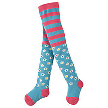 Buy Frugi Organic Little Norah Daisy Print Tights, Pink/Blue Online at johnlewis.com