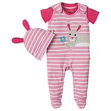 Buy Frugi Organic Baby Snuggle Bunny Sleepsuit and Hat Gift Set, Pink/Multi Online at johnlewis.com