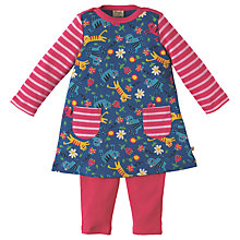 Buy Frugi Organic Baby Cat Tunic Top and Leggings Set, Pink/Navy Online at johnlewis.com