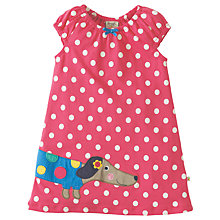 Buy Frugi Organic Baby Lola Dog Polka Dot Jersey Dress, Pink Online at johnlewis.com
