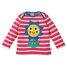 Buy Frugi Organic Baby Bobby Applique Flower Top, Pink Online at johnlewis.com