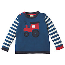 Buy Frugi Organic Baby Jack Knitted Tractor Jumper, Navy Online at johnlewis.com