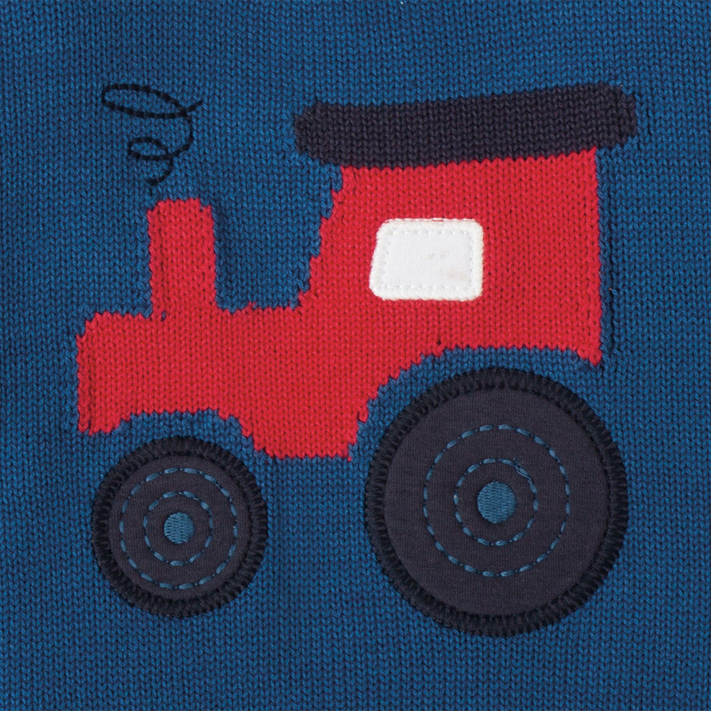 Knitting Pattern Tractor Jumper : Buy Frugi Organic Baby Jack Knitted Tractor Jumper, Navy John Lewis