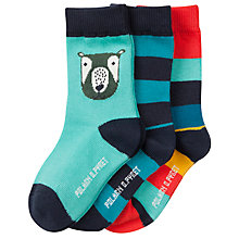 Buy Polarn O. Pyret Baby Bear Socks, Pack of 3, Blue Online at johnlewis.com