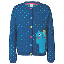 Buy Frugi Organic Girls' Betsy Cat Cardigan, Navy Online at johnlewis.com