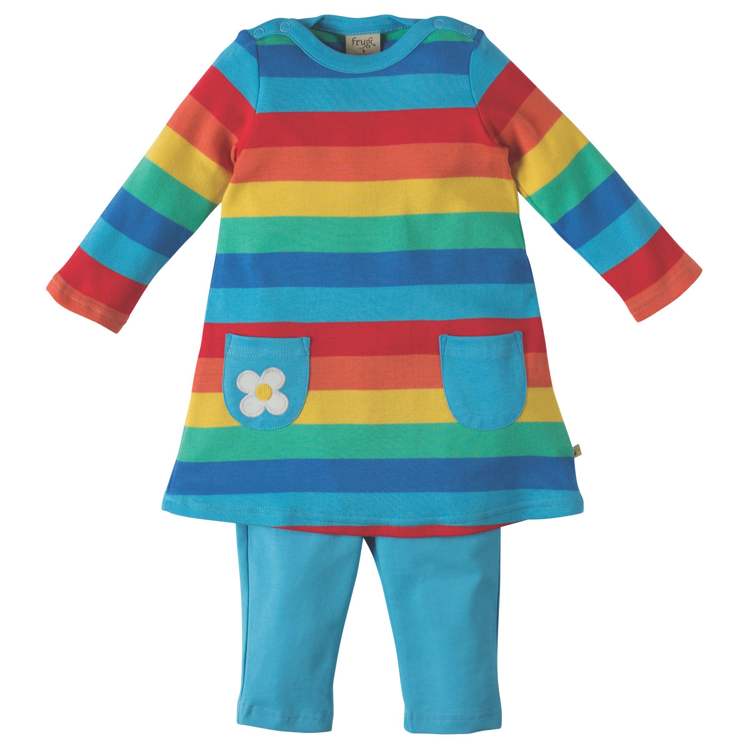 Frugi Organic Frugi Organic Baby Rainbow Tunic Top and Leggings Set, Multi