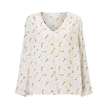 Buy Harris Wilson Vicenta Fox Print Blouse, Ecru Online at johnlewis.com