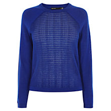 Buy Karen Millen Essential Textured Jumper, Blue Online at johnlewis.com