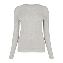 Buy Warehouse Puff Sleeve Pointelle Jumper, Light Grey Online at johnlewis.com