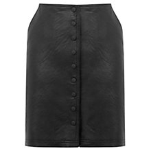 Buy Warehouse Popper Front Faux Leather Skirt, Black Online at johnlewis.com