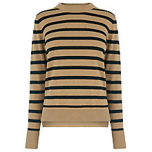 Buy Warehouse Boxy Stripe Crew Neck Jumper, Black Online at johnlewis.com