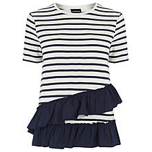Buy Warehouse Stripe Cotton Ruffle T-Shirt, Blue Stripe Online at johnlewis.com