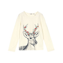 Buy Fat Face Girls' Deer T-Shirt, Ecru Online at johnlewis.com