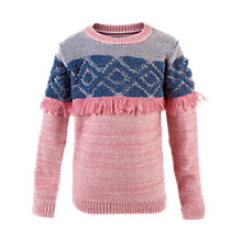 Buy Fat Face Girls' Fringe Crew Neck Jumper, Dusky Pink Online at johnlewis.com
