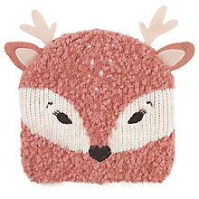 Buy Fat Face Children's Deer Beanie Hat, Pink Online at johnlewis.com