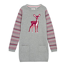 Buy Fat Face Girls' Knitted Deer Dress, Grey Marl Online at johnlewis.com