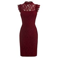 Buy Oasis Lace Ruffle Dress, Burgundy Online at johnlewis.com