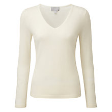 Buy Pure Collection Tess Cashmere V Neck Jumper, Soft White Online at johnlewis.com
