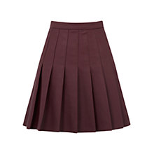 Buy Oasis Faux Leather Pleated Skirt, Burgundy Online at johnlewis.com