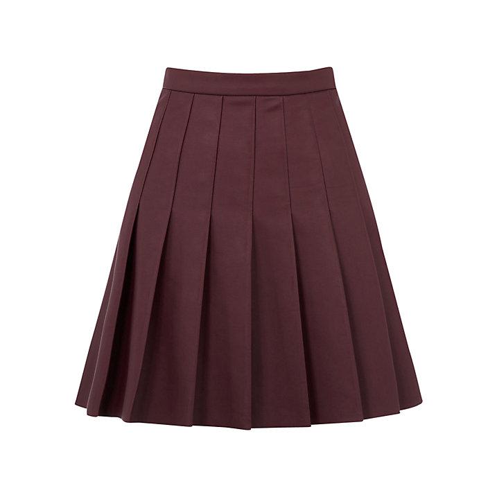 Oasis Faux Leather Pleated Skirt, Burgundy