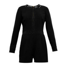 Buy Ted Baker Leesa Embroidered Cutout Playsuit, Black Online at johnlewis.com