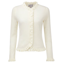 Buy Pure Collection Fewston Ruffle Edge Cardigan, Soft White Online at johnlewis.com