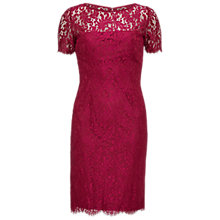Buy Gina Bacconi Scallop Eyelash Lace Dress, Bright Wine Online at johnlewis.com