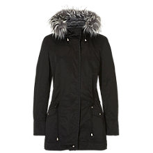 Buy Betty & Co. Hooded Jacket With Trim, Black Online at johnlewis.com