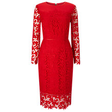 Buy Phase Eight Amber Lace Dress, Claret Online at johnlewis.com