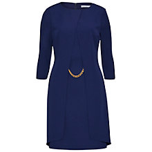Buy Gina Bacconi Layered Moss Crepe Dress With Chain Trim, Navy Online at johnlewis.com