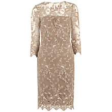 Buy Gina Bacconi Antique Embroidered Net Dress, Truffle Online at johnlewis.com