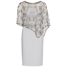 Buy Gina Bacconi Moss Crepe Dress With Beaded Cape, Silver Mist Online at johnlewis.com