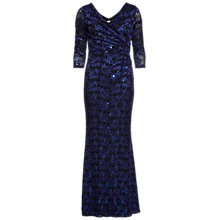 Buy Gina Bacconi Sequin Leaf Lace Maxi Dress, Royal Blue/Black Online at johnlewis.com