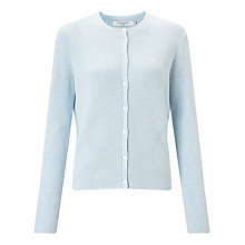 Buy John Lewis Cotton Rib Stitch Cardigan, Mid Blue Online at johnlewis.com