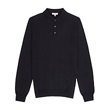 Buy Reiss Mansion Merino Polo Jumper, Navy Online at johnlewis.com