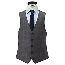 Buy John Lewis Check Super 100s Wool Tailored Fit Waistcoat, Grey Online at johnlewis.com