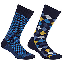 Buy John Lewis Made in Italy Checkerboard Grid Socks, Navy Online at johnlewis.com