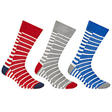 Buy John Lewis Duo Breton Stripe Socks, Pack of 3, Red/Grey/Blue Online at johnlewis.com