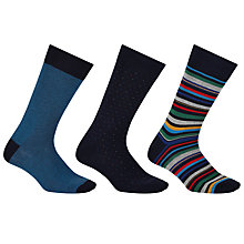 Buy John Lewis Made in Italy Multi Stripe Birdseye Socks, Pack of 3 Online at johnlewis.com