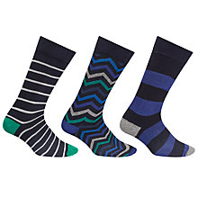 Buy John Lewis Zig Zag Stripe Socks, Pack of 3, Multi Online at johnlewis.com