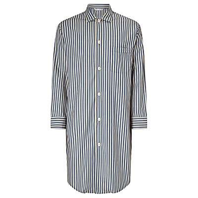 Derek Rose Cotton Stripe Nightshirt, Navy/Yellow