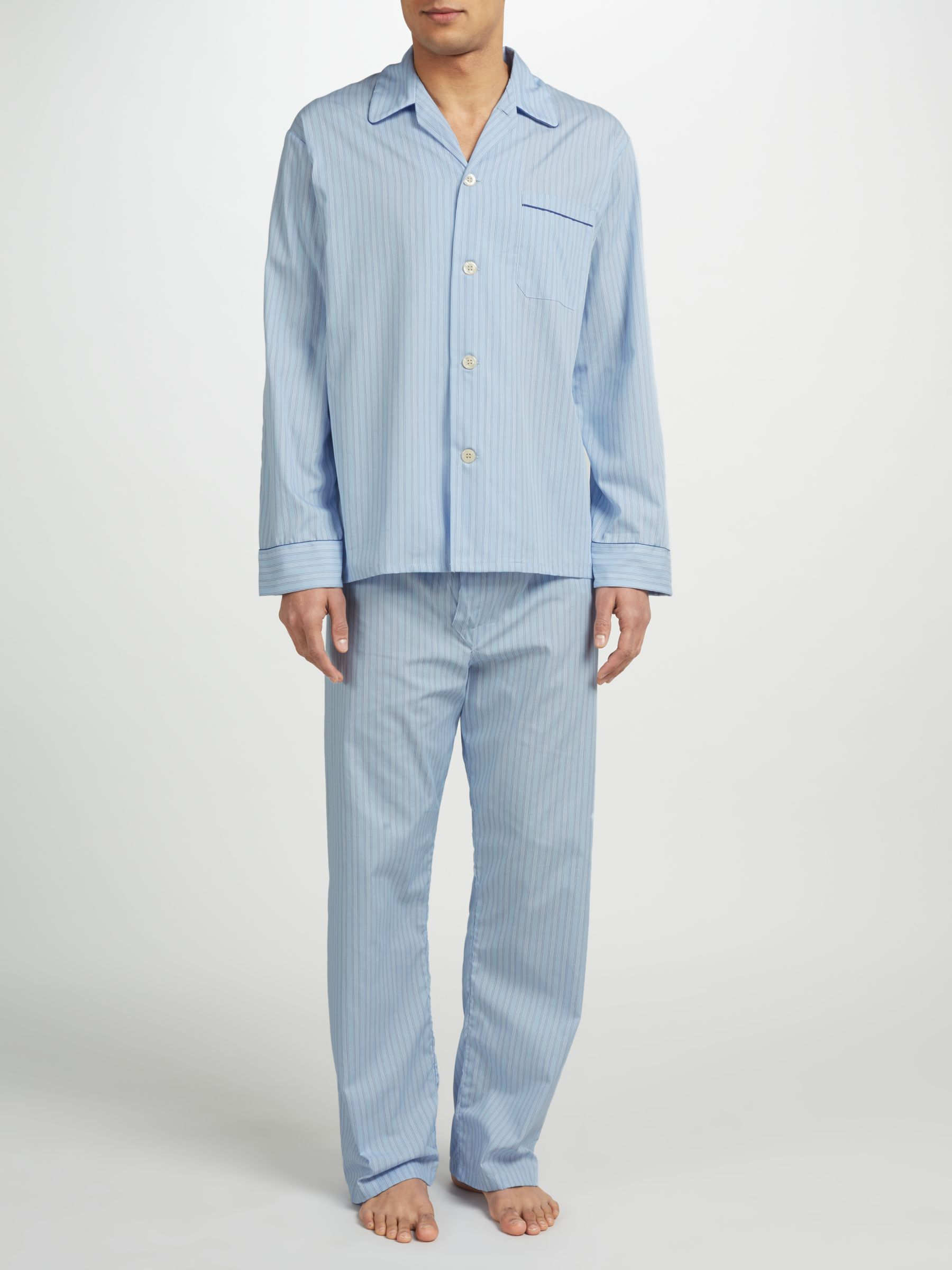 Derek Rose Derek Rose Stripe Woven Cotton Pyjamas, Light Blue